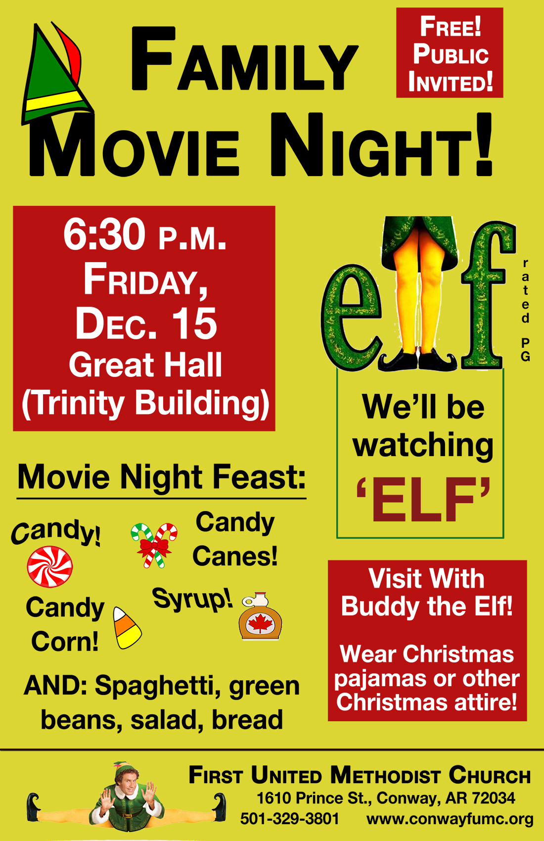 elf poster smaller - First United Methodist Church - Conway, AR